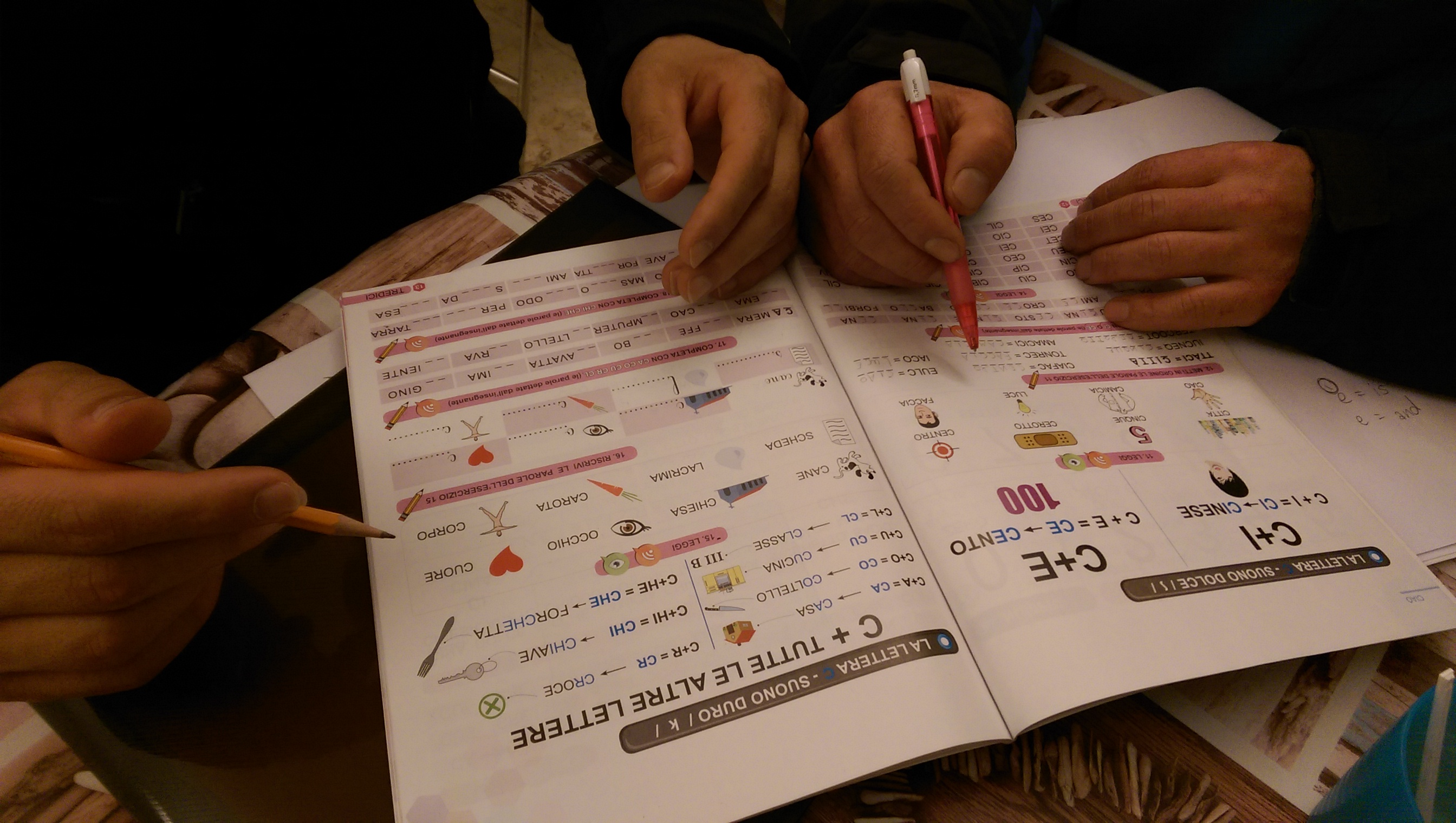 Refugees learning italian at soggiorno acts outreach for Italian soggiorno